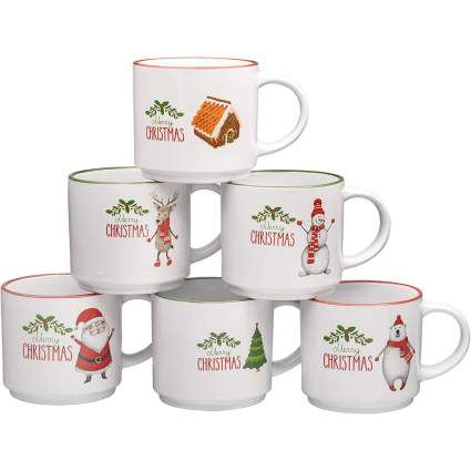 White Christmas coffee cup set