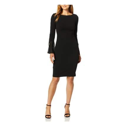 black bell sleeve sheath dress