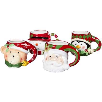 Cute sculpted holiday mug set
