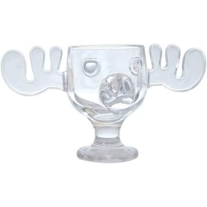 Glass moose head mug for punch