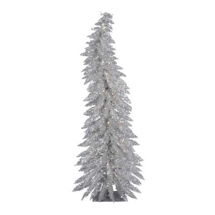 Curving silver christmas tree