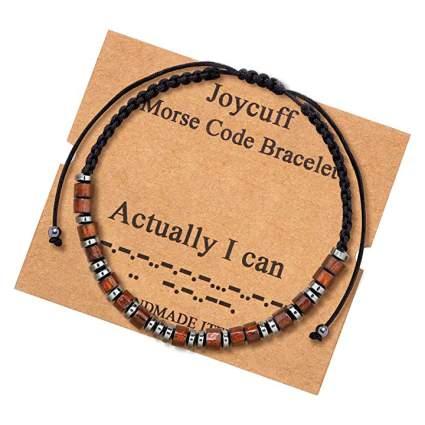 Joycuff brown and black morse code bracelet