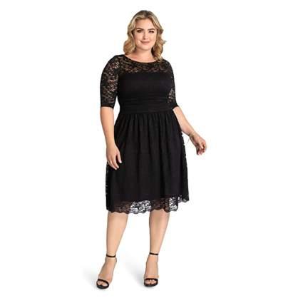 plus size black lace party dress