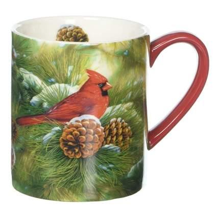 cardinal in a pine tree coffee mug