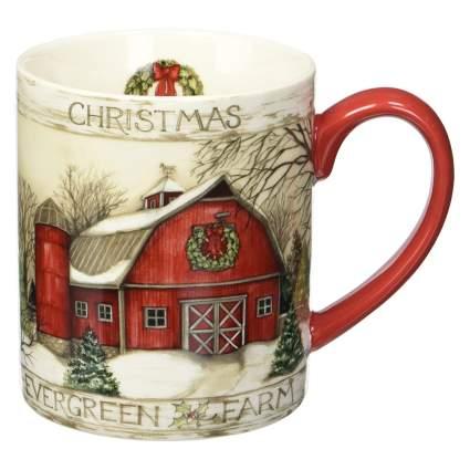 Rustic red barn Christmas mug