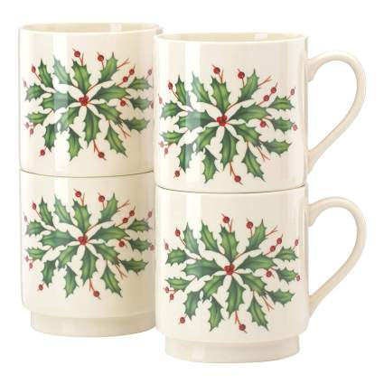 Stacking holly and berry Lenox mugs