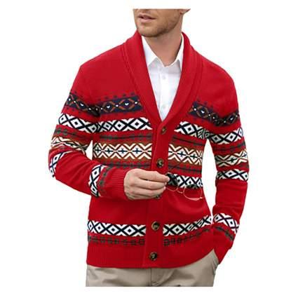 men's red fair isle cardigan