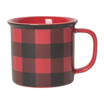 red flannel check mug