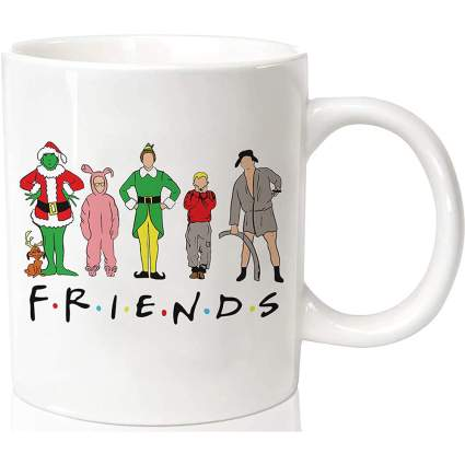 """""""friends"""" white coffee mug with Christmas movie characteres"""