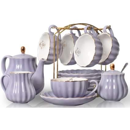 Purple british tea service for six