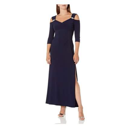cold shoulder navy party dress