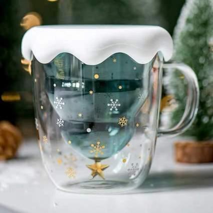 Glass updside down Christmas tree mug