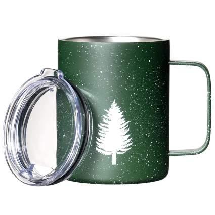 Green metal insulated mug with white pine tree