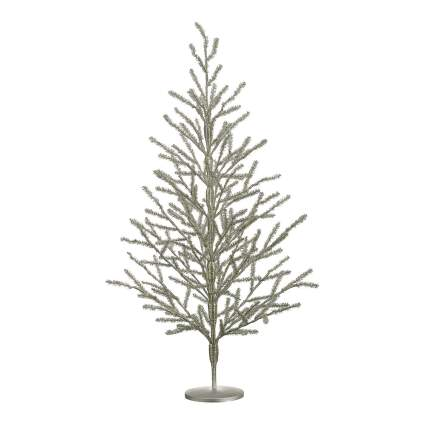 Thin branched silver Christmas tree