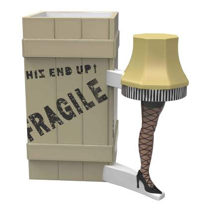 Mug sculpted to look like a leg lamp and large shipping box