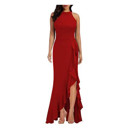 red mermaid cocktail dress